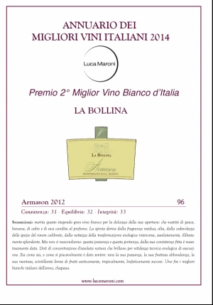 YEARBOOK LUCA MARONI 2014-ARMASON 2012 LA BOLLINA 2nd BEST ITALIAN WHITE WINE 96 POINTS