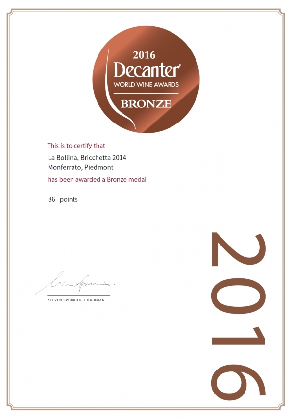 BRONZE MEDAL DECANTER WORLD WINE AWARDS 2016 - BRICCHETTA 2014