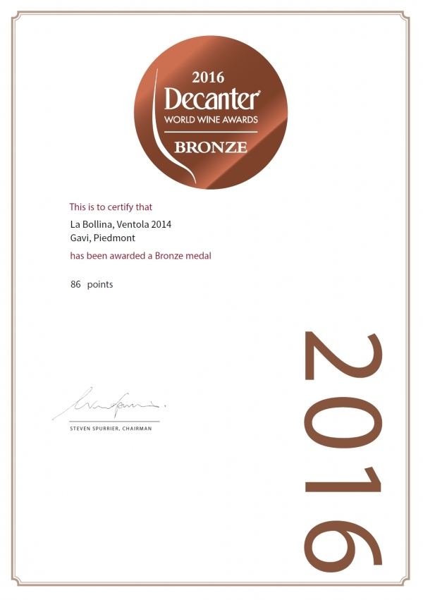 BRONZE MEDAL DECANTER WORLD WINE AWARDS 2016 - GAVI VENTOLA 2014